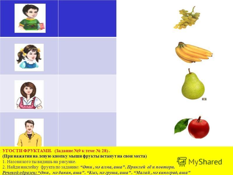 УГОСТИ ФРУКТАМИ. (Задание 9 к теме 28). (При нажатии на левую кнопку мыши фрукты встанут на свои места) 1. Назови кого ты видишь на рисунке. 2. Найди наклейку фрукта по заданию: Әти, мә алма, аша. Приклей её и повтори. Речевой образец: Әни, мә банан,