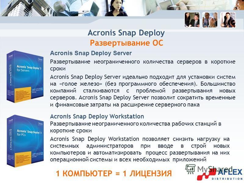 Acronis Snap Deploy Развертывание ОС Acronis Snap Deploy Server Развертывание неограниченного количества серверов в короткие сроки Acronis Snap Deploy Server идеально подходит для установки систем на «голое железо» (без программного обеспечения). Бол