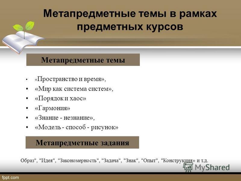 Метапредметные темы в рамках предметных курсов « Пространство и время», «Мир как система систем», «Порядок и хаос» «Гармония» «Знание - незнание», «Модель - способ - рисунок» Образ