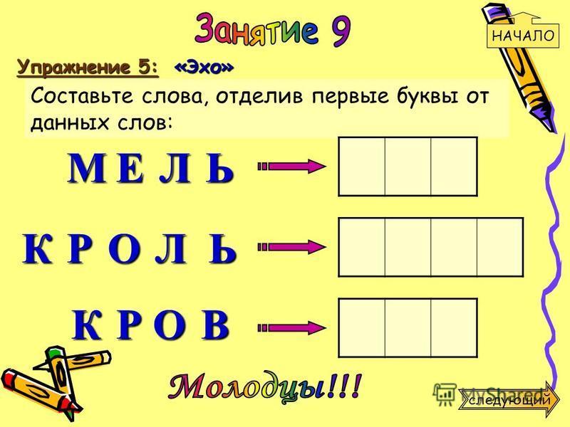 Упражнение 5: «Эхо» Составьте слова, отделив первые буквы от данных слов: М К К Р О Л Ь Р О В Е Л Ь НАЧАЛО следующий