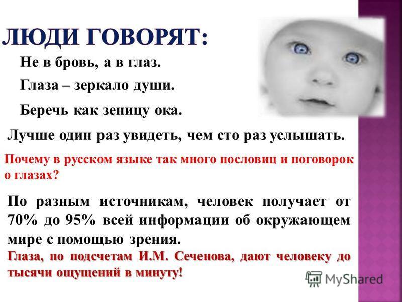 Глаза – зеркало души. Не в бровь, а в глаз. Беречь как зеницу ока. Лучше один раз увидеть, чем сто раз услышать. Почему в русском языке так много пословиц и поговорок о глазах? По разным источникам, человек получает от 70% до 95% всей информации об о