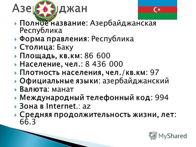 Полное название: Азербайджанская Республика Форма правления: Республика Столица: Баку Площадь, кв.км: 86 600 Население, чел.: 8 436 000 Плотность населения, чел./кв.км: 97 Официальные языки: азербайджанский Валюта: манат Международный телефонный код: