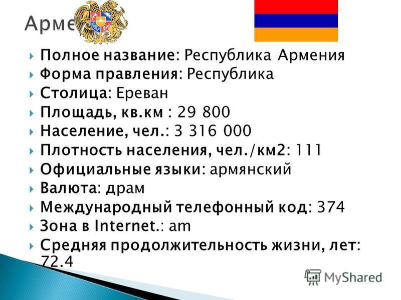 Полное название: Республика Армения Форма правления: Республика Столица: Ереван Площадь, кв.км : 29 800 Население, чел.: 3 316 000 Плотность населения, чел./км 2: 111 Официальные языки: армянский Валюта: драм Международный телефонный код: 374 Зона в