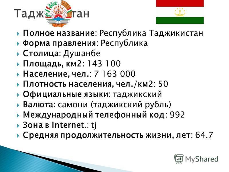 Полное название: Республика Таджикистан Форма правления: Республика Столица: Душанбе Площадь, км 2: 143 100 Население, чел.: 7 163 000 Плотность населения, чел./км 2: 50 Официальные языки: таджикский Валюта: самоны (таджикский рубль) Международный те