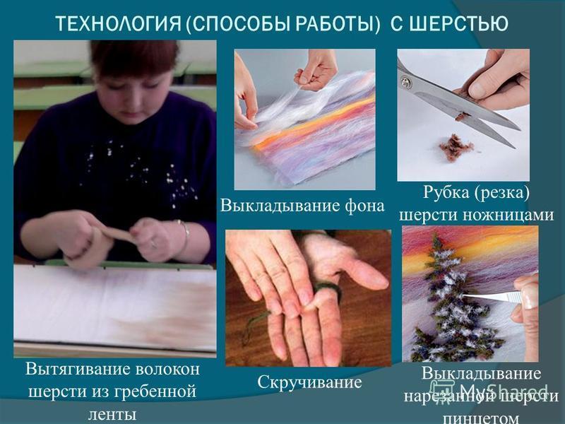 Вытягивание волокон шерсти из гребенной ленты Скручивание Выкладывание фона Рубка (резка) шерсти ножницами Выкладывание нарезанной шерсти пинцетом