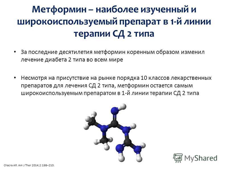 За последние десятилетия метформин коренным образом изменил лечение диабета 2 типа во всем мире Несмотря на присутствие на рынке порядка 10 классов лекарственных препаратов для лечения СД 2 типа, метформин остается самым широкоиспользуемым препаратом