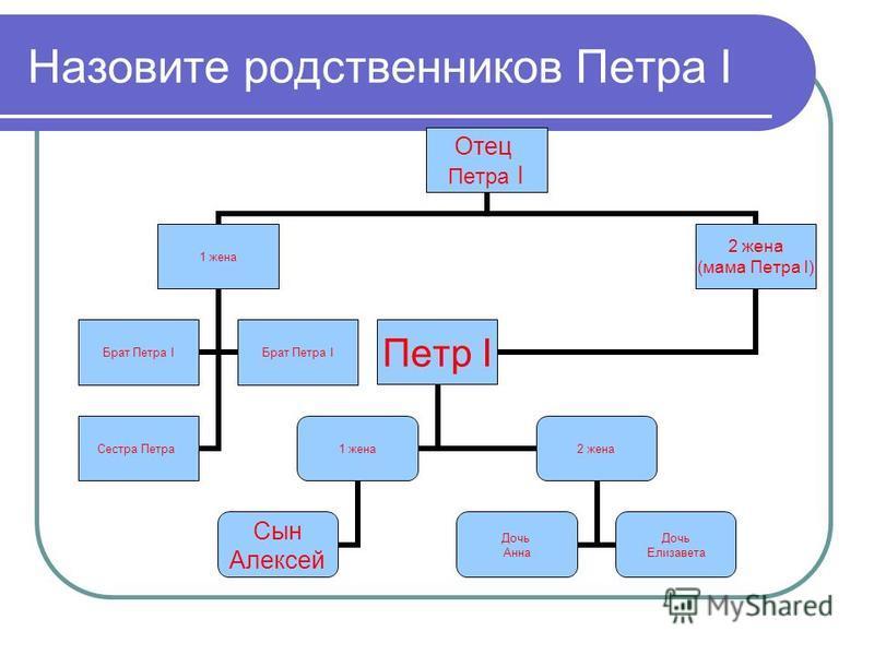 Назовите родственников Петра I 1 жена 2 жена Сын Алексей Дочь Анна Дочь Елизавета