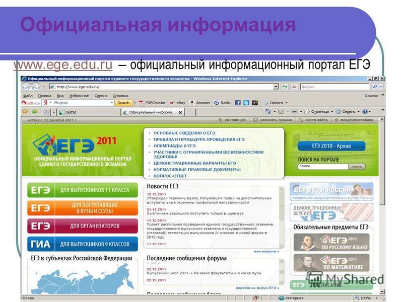 Официальная информация www.ege.edu.ruwww.ege.edu.ru – официальный информационный портал ЕГЭ