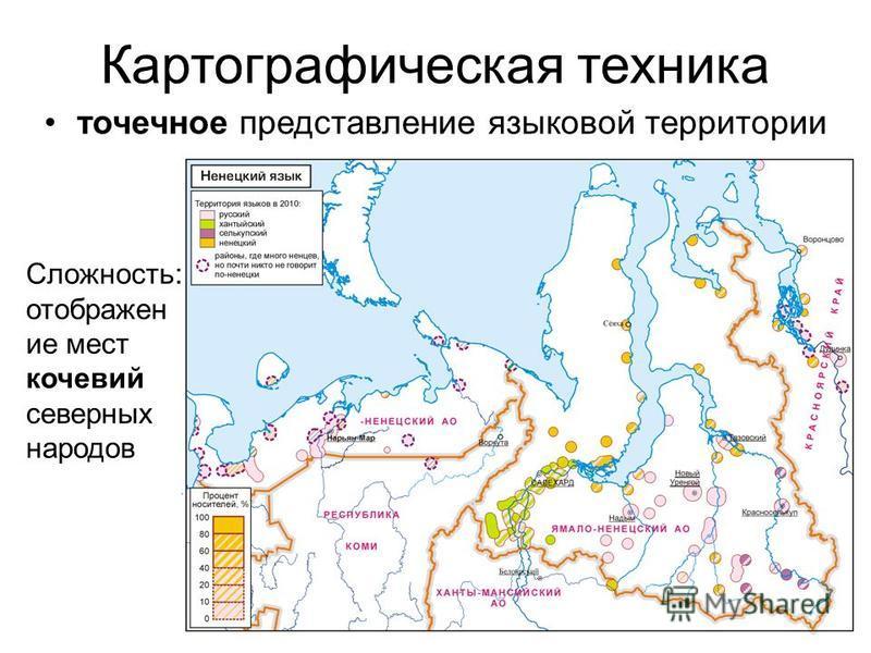 Картографическая техника точечное представление языковой территории Сложность: отображен ие мест кочевий северных народов