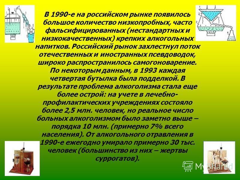 В 1990-е на российском рынке появилось большое количество низкопробных, часто фальсифицированных (нестандартных и низкокачественных) крепких алкогольных напитков. Российский рынок захлестнул поток отечественных и иностранных псевдоводок, широко распр