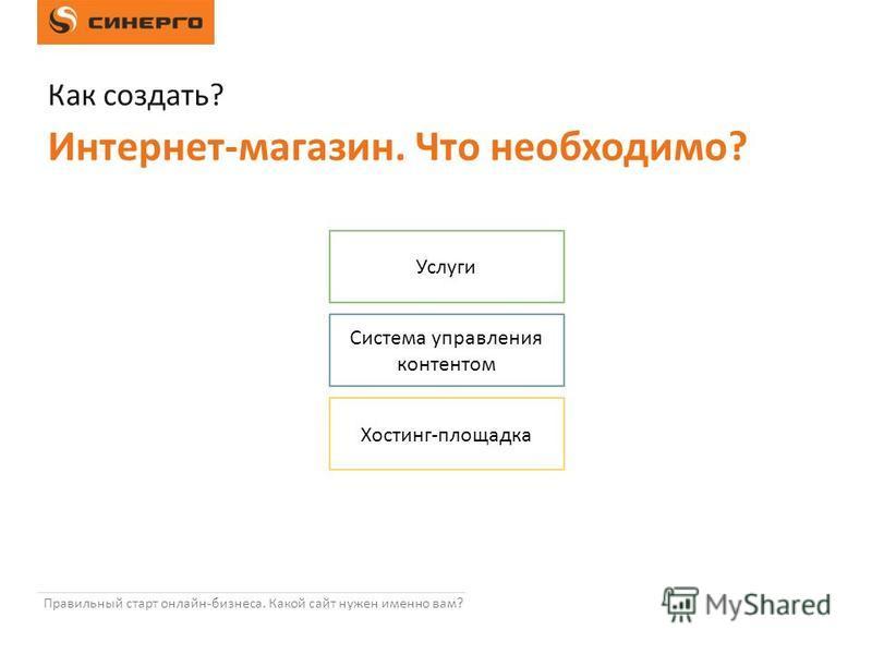 Правильный старт онлайн-бизнеса. Какой сайт нужен именно вам? Услуги Система управления контентом Хостинг-площадка Как создать? Интернет-магазин. Что необходимо?