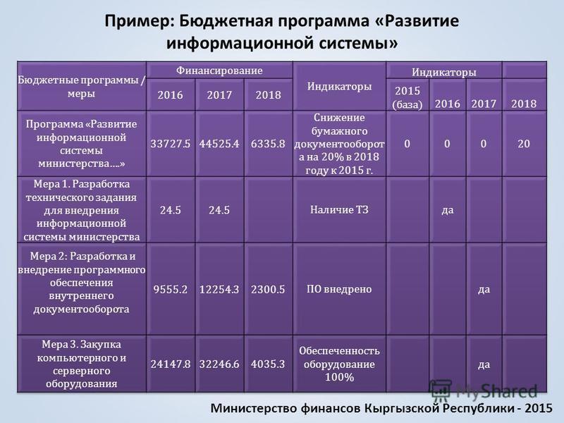 Пример: Бюджетная программа «Развитие информационной системы» Министерство финансов Кыргызской Республики - 2015
