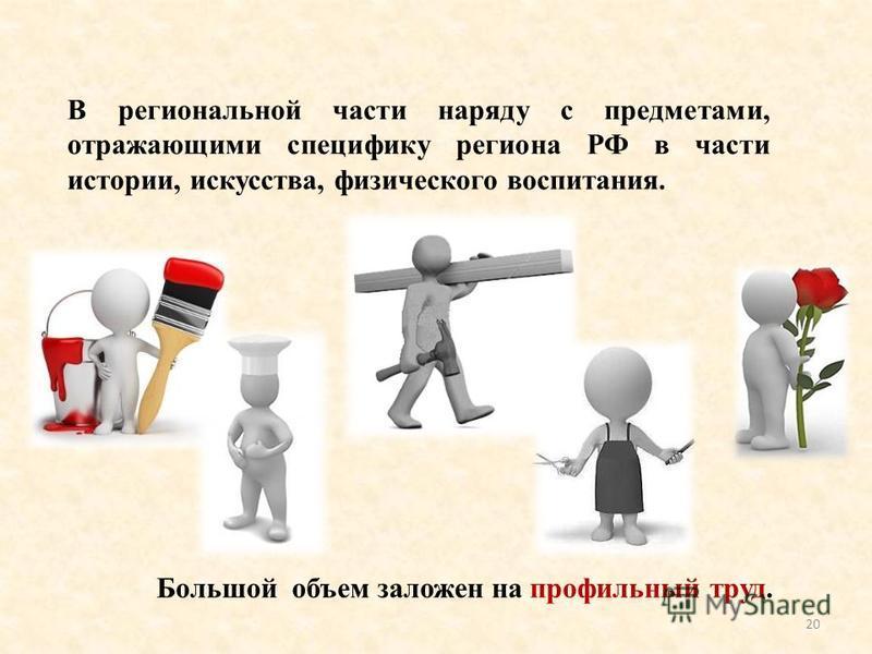 В региональной части наряду с предметами, отражающими специфику региона РФ в части истории, искусства, физического воспитания. 20 Большой объем заложен на профильный труд.