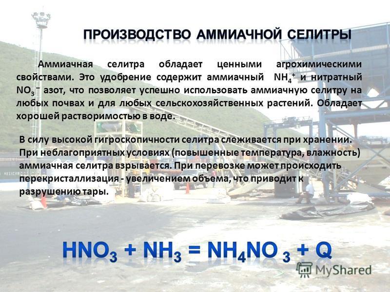 Аммиачная селитра обладает ценными агрохимическими свойствами. Это удобрение содержит аммиачный NH 4 + и нитратный NO 3 – азот, что позволяет успешно использовать аммиачную селитру на любых почвах и для любых сельскохозяйственных растений. Обладает х