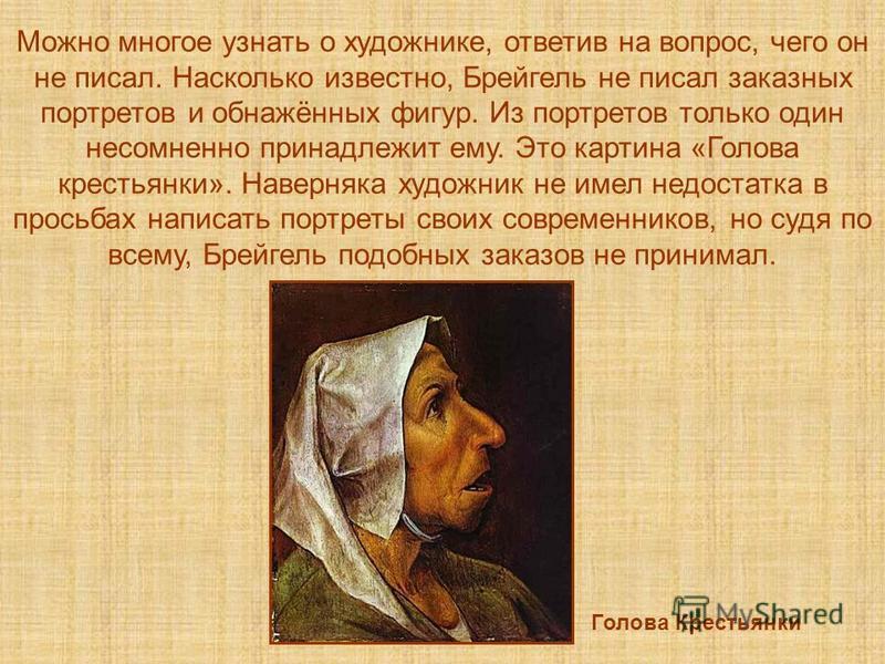 Можно многое узнать о художнике, ответив на вопрос, чего он не писал. Насколько известно, Брейгель не писал заказных портретов и обнажённых фигур. Из портретов только один несомненно принадлежит ему. Это картина «Голова крестьянки». Наверняка художни