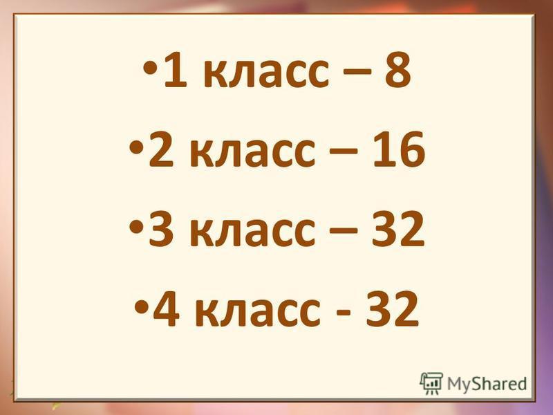 1 класс – 8 2 класс – 16 3 класс – 32 4 класс - 32