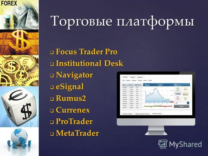 Focus Trader Pro Focus Trader Pro Institutional Desk Institutional Desk Navigator Navigator eSignal eSignal Rumus2 Rumus2 Currenex Currenex ProTrader ProTrader MetaTrader MetaTrader Торговые платформы
