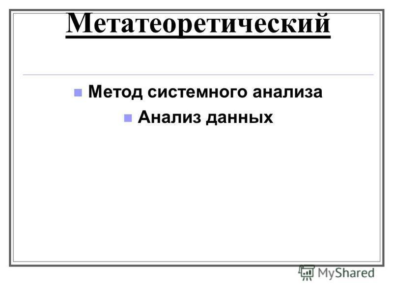 Метатеоретический Метод системного анализа Анализ данных