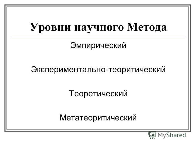 Уровни научного Метода Эмпирический Экспериментально-теоретический Теоретический Метатеоретический