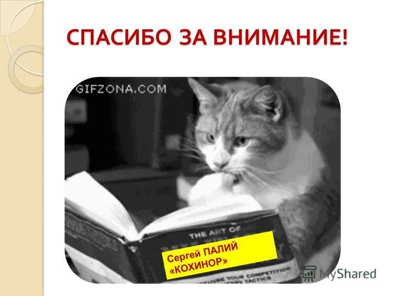 СПАСИБО ЗА ВНИМАНИЕ ! Сергей ПАЛИЙ «КОХИНОР»