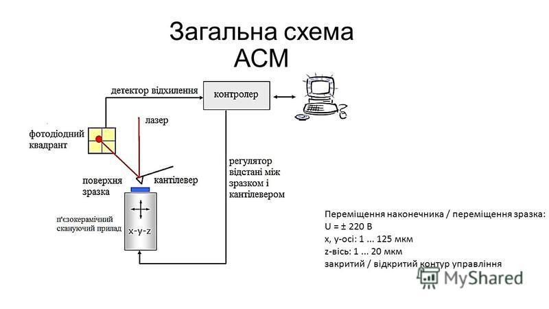 Загальна схема АСМ Переміщення наконечника / переміщення зразка: U = ± 220 В х, у-осі: 1... 125 мкм z-вісь: 1... 20 мкм закритий / відкритий контур управління