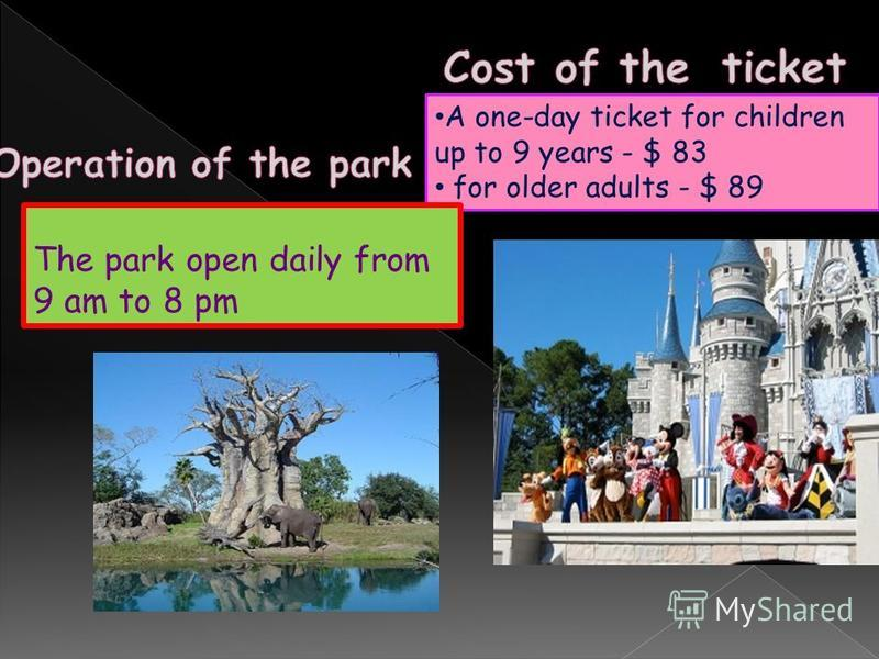 A one-day ticket for children up to 9 years - $ 83 for older adults - $ 89 The park open daily from 9 am to 8 pm