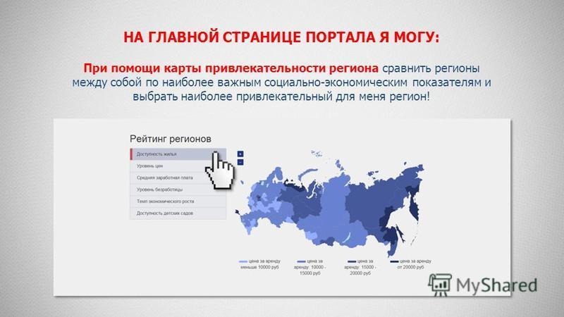НА ГЛАВНОЙ СТРАНИЦЕ ПОРТАЛА Я МОГУ: При помощи карты привлекательности региона сравнить регионы между собой по наиболее важным социально-экономическим показателям и выбрать наиболее привлекательный для меня регион!
