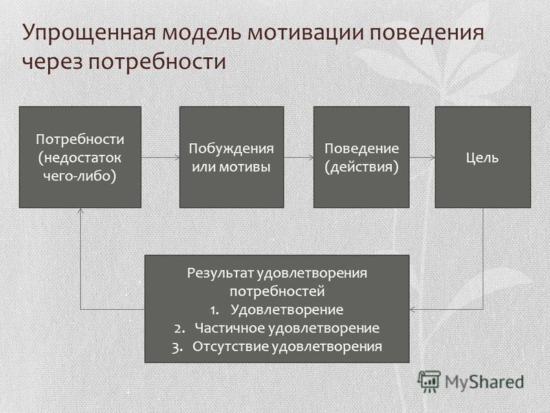 Упрощенная модель мотивации поведения через потребности Потребности (недостаток чего-либо) Побуждения или мотивы Поведение (действия) Цель Результат удовлетворения потребностей 1. Удовлетворение 2. Частичное удовлетворение 3. Отсутствие удовлетворени