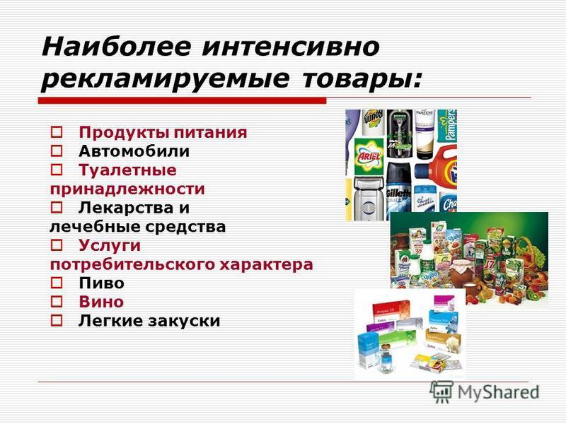 Наиболее интенсивно рекламируемые товары: Продукты питания Автомобили Туалетные принадлежности Лекарства и лечебные средства Услуги потребительского характера Пиво Вино Легкие закуски