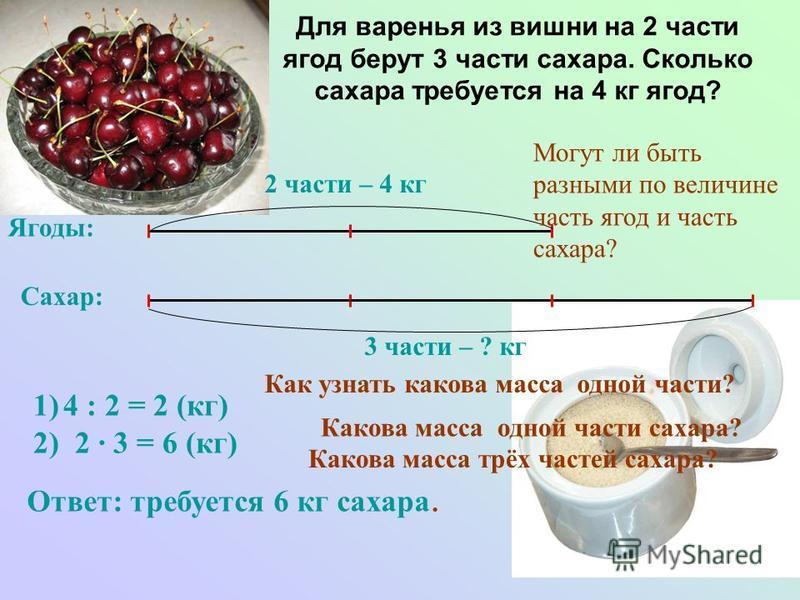 Для варенья из вишни на 2 части ягод берут 3 части сахара. Сколько сахара требуется на 4 кг ягод? Ягоды: Сахар: 2 части – 4 кг 3 части – ? кг Как узнать какова масса одной части? Ответ: требуется 6 кг сахара. 1)4 : 2 = 2 (кг) 2) 2 · 3 = 6 (кг) Какова