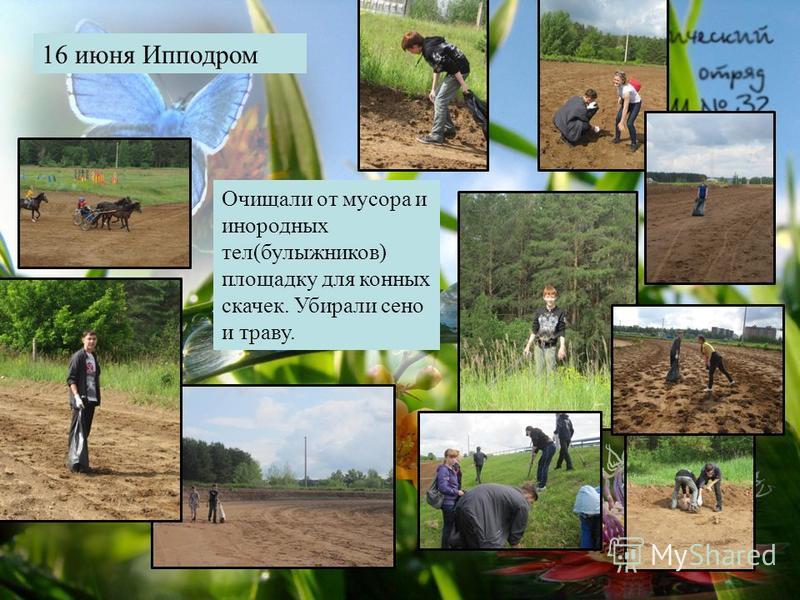 16 июня Ипподром Очищали от мусора и инородных тел(булыжников) площадку для конных скачек. Убирали сено и траву.
