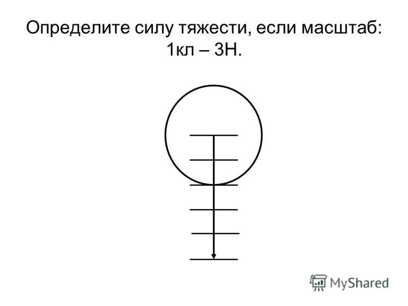 Определите силу тяжести, если масштаб: 1 кл – 3Н.