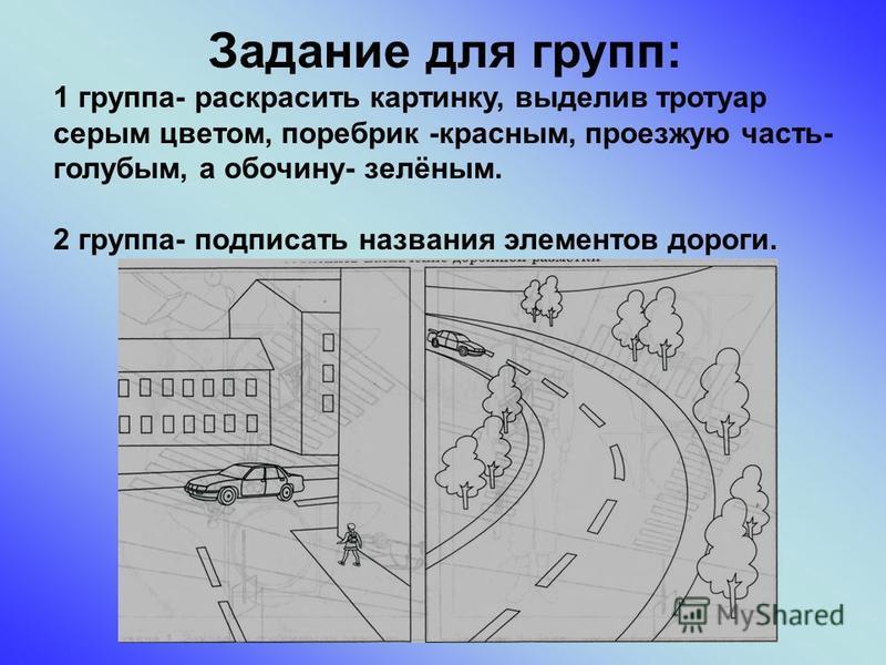 Задание для групп: 1 группа- раскрасить картинку, выделив тротуар серым цветом, поребрик -красным, проезжую часть- голубым, а обочину- зелёным. 2 группа- подписать названия элементов дороги.