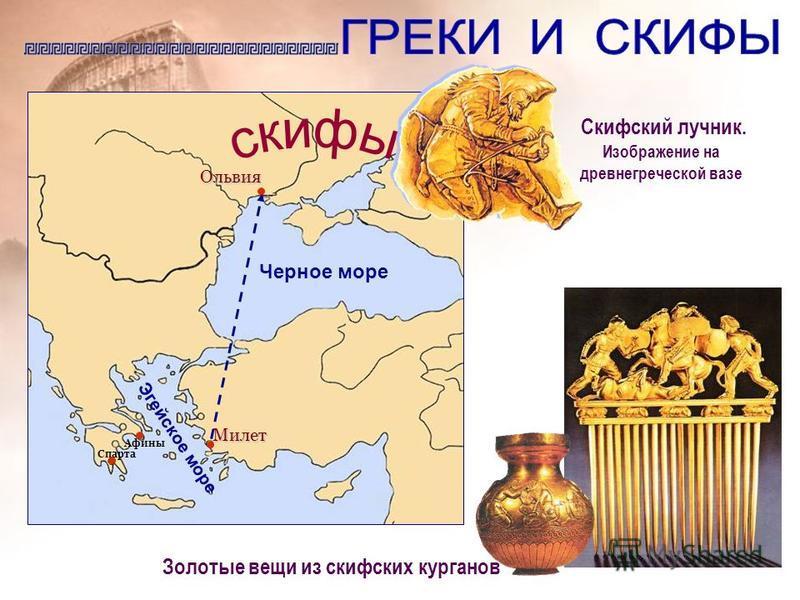 Скифский лучник. Изображение на древнегреческой вазе Золотые вещи из скифских курганов Ольвия Черное море Эгейское море Милет Афины Спарта