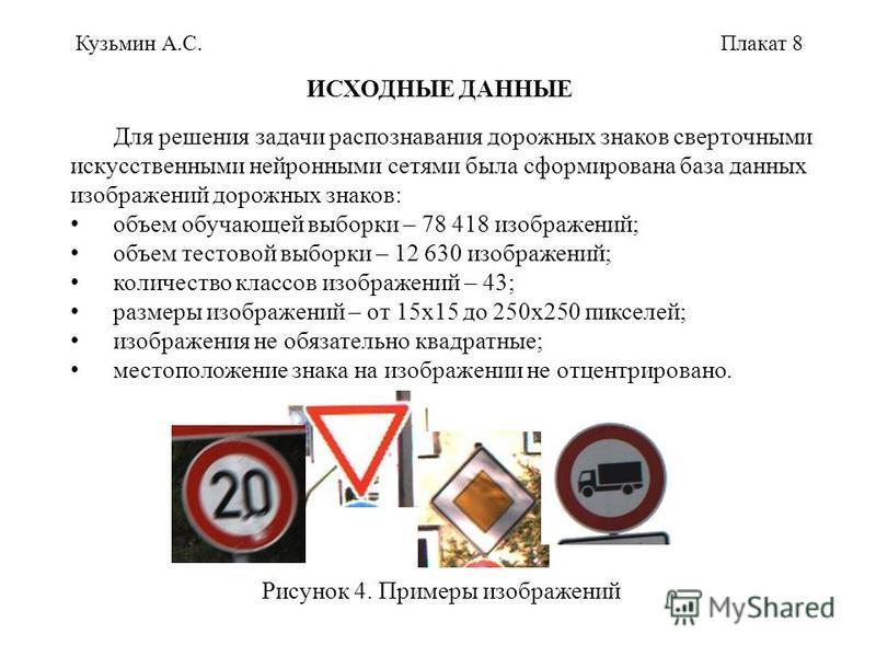 Кузьмин А.С.Плакат 8 ИСХОДНЫЕ ДАННЫЕ Для решения задачи распознавания дорожных знаков сверточными искусственными нейронными сетями была сформирована база данных изображений дорожных знаков: объем обучающей выборки – 78 418 изображений; объем тестовой