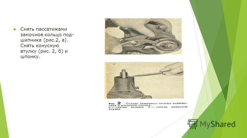 Снять пассатижами замочное кольцо под шипника (рис.2, а). Снять конусную втулку (рис. 2, б) и шпонку.