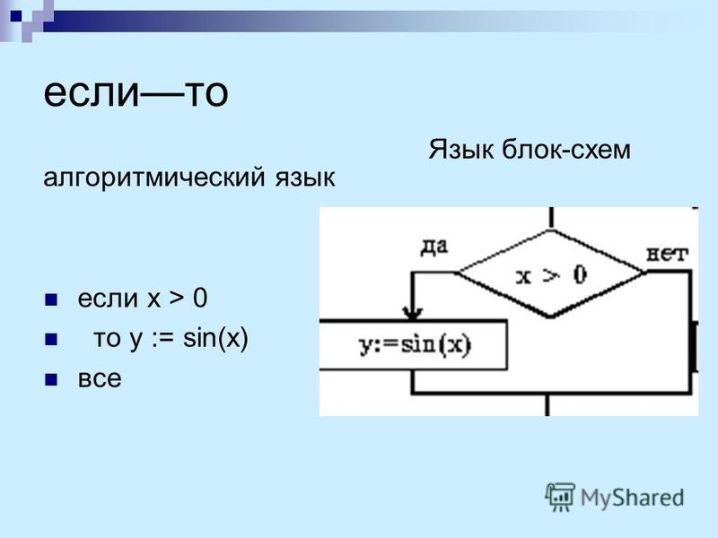 если то алгоритмический язык если x > 0 то y := sin(x) все Язык блок-схем