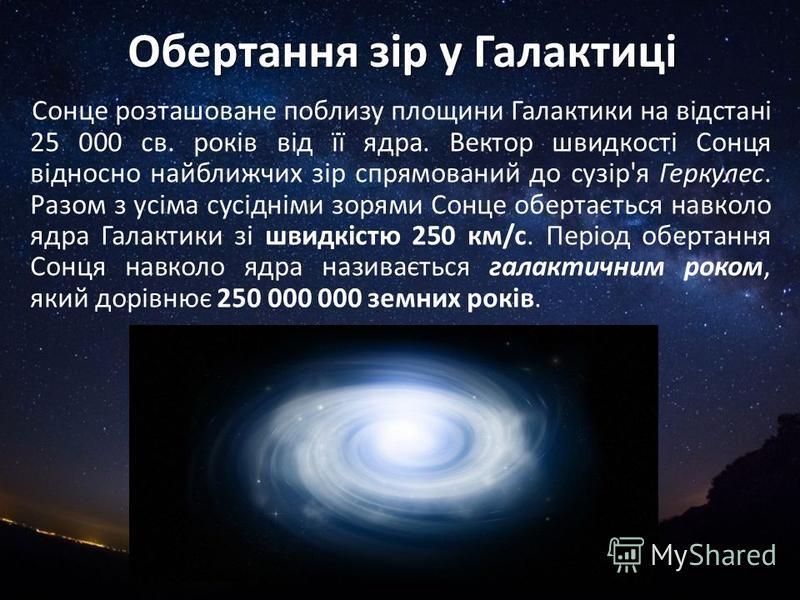 Обертання зір у Галактиці Сонце розташоване поблизу площини Галактики на відстані 25 000 св. років від її ядра. Вектор швидкості Сонця відносно найближчих зір спрямований до сузір'я Геркулес. Разом з усіма сусідніми зорями Сонце обертається навколо я