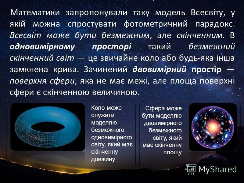 Математики запропонували таку модель Всесвіту, у якій можна спростувати фотометричний парадокс. Всесвіт може бути безмежним, але скінченним. В одновимірному просторі такий безмежний скінченний світ це звичайне коло або будь-яка інша замкнена крива. З