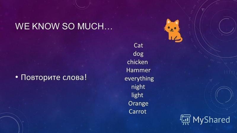 WE KNOW SO MUCH… Повторите слова! Cat dog chicken Hammer everything night light Orange Carrot