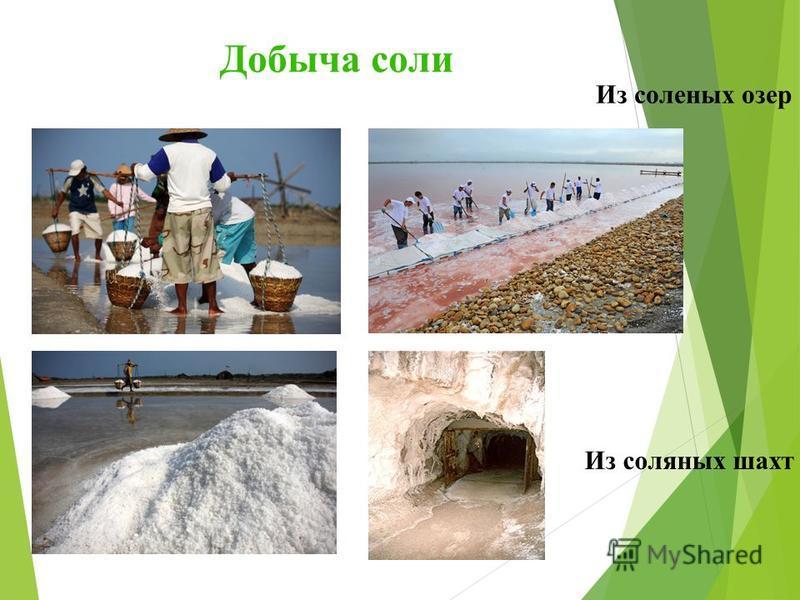 Добыча соли Из соляных шахт Из соленых озер