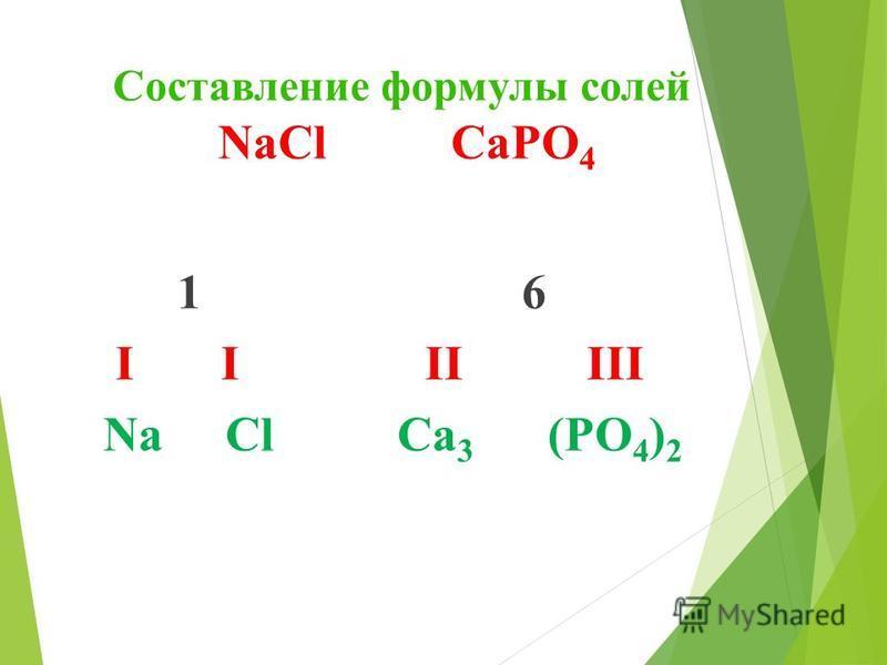 Составление формулы солей NaCl СaPO 4 1 6 I I II III Na Cl Сa 3 (PO 4 ) 2