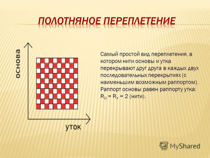 Самый простой вид переплетения, в котором нити основы и утка перекрывают друг друга в каждых двух последовательных перекрытиях (с наименьшим возможным раппортом). Раппорт основы равен раппорту утка: R О = R У = 2 (нити).