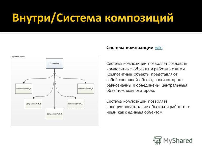 Система композиции wiki wiki Система композиции позволяет создавать композитные объекты и работать с ними. Композитные объекты представляют собой составной объект, части которого равнозначны и объединены центральным объектом-композитором. Система ком