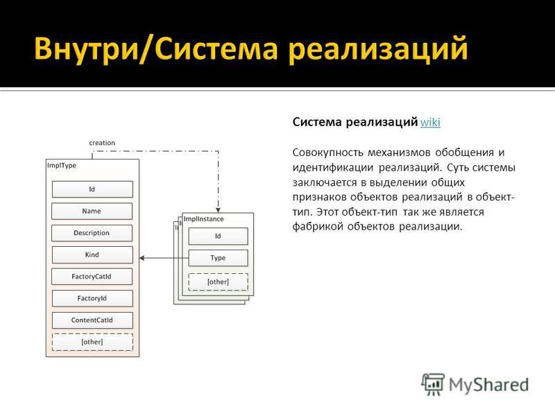 Система реализаций wiki Совокупность механизмов обобщения и идентификации реализаций. Суть системы заключается в выделении общих признаков объектов реализаций в объект- тип. Этот объект-тип так же является фабрикой объектов реализации.wiki