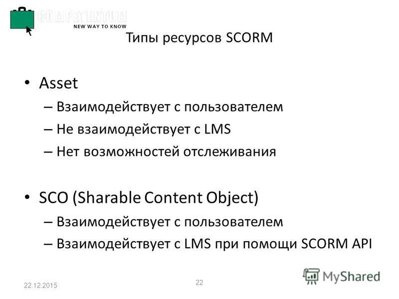 22.12.2015 22 Типы ресурсов SCORM Asset – Взаимодействует с пользователем – Не взаимодействует с LMS – Нет возможностей отслеживания SCO (Sharable Content Object) – Взаимодействует с пользователем – Взаимодействует с LMS при помощи SCORM API