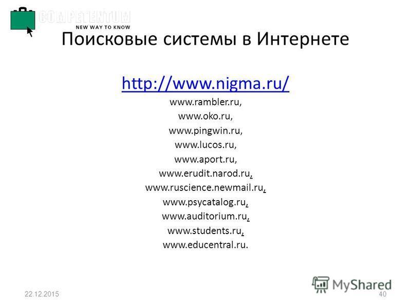 22.12.201540 Поисковые системы в Интернете http://www.nigma.ru/ www.rambler.ru, www.oko.ru, www.pingwin.ru, www.lucos.ru, www.aport.ru, www.erudit.narod.ru, www.ruscience.newmail.ru, www.psycatalog.ru, www.auditorium.ru, www.students.ru, www.educentr