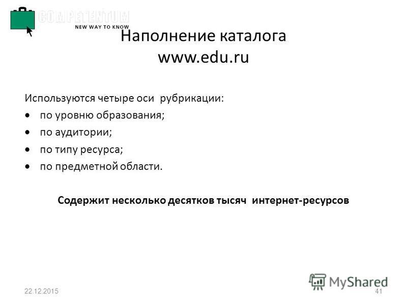 22.12.201541 Наполнение каталога www.edu.ru Используются четыре оси рубрикации: по уровню образования; по аудитории; по типу ресурса; по предметной области. Содержит несколько десятков тысяч интернет-ресурсов