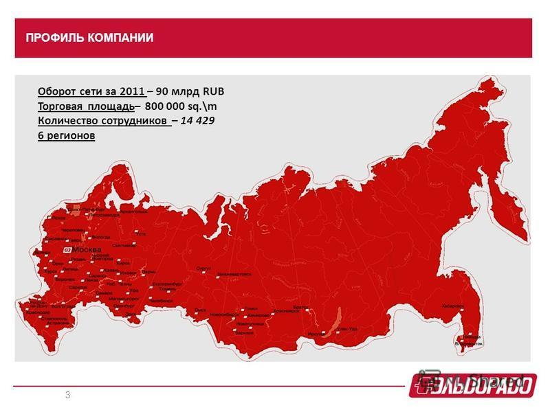 ПРОФИЛЬ КОМПАНИИ 3 Оборот сети за 2011 – 90 млрд RUB Торговая площадь– 800 000 sq.\m Количество сотрудников – 14 429 6 регионов