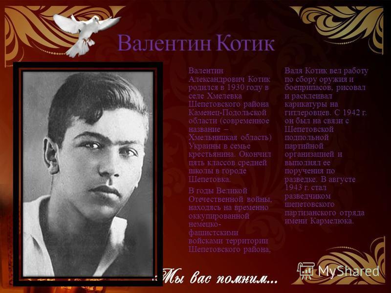 Валентин Александрович Котик родился в 1930 году в селе Хмелевка Шепетовского района Каменец-Подольской области (современное название – Хмельницкая область) Украины в семье крестьянина. Окончил пять классов средней школы в городе Шепетовка. В годы Ве